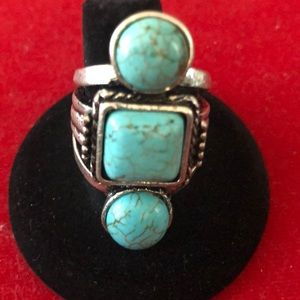 Jewelry - 💕925 Silver Ring With Large Turquoise Stones